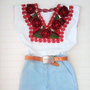 """Embroidered Spanish Style Top """"Homemade/Vintage"""""""